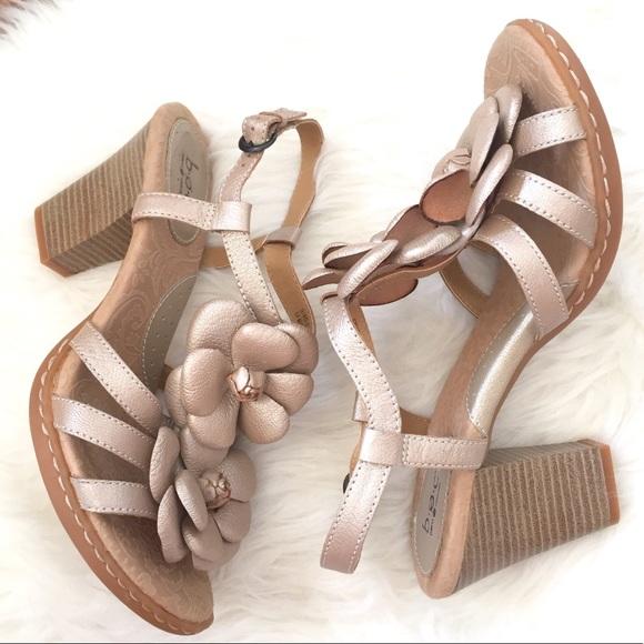 96d9746b2 Born Shoes - Born Concept Floral Leather Block Heel Sandal